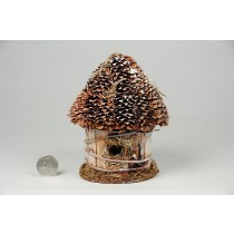 Birdhouse Rd-Shape Cone/Bark/Snow 5.5""