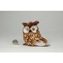 """Owl Wooden Jute w/Gold Glit 4.5"""""""