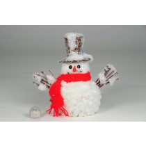 Snowman Brown Snow Hat/Red Scarf 6.6""