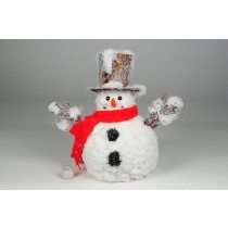 Snowman Brown Snow Hat/Red Scarf 9""