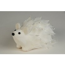 Hedgehog White Feather w/Silv Sequin 5""