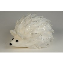 Hedgehog White Feather w/Silv Sequin 5.5""
