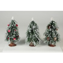 Tree Green Pine w/Snow/Deco Asst*3 5.5""