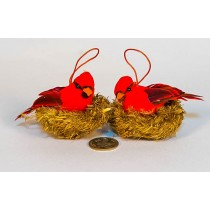 """Cardinal In Brn Grass Nest w/Hanger Asst*2 3"""""""