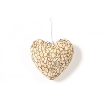 Wreath Heart Nat. Woodchip w/Silver Glit 4.5""