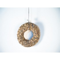 Wreath Brown Woodchip w/Glit/Hanger
