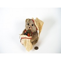 Bear Brown Grass w/Santa Hat/Gift Bag