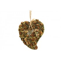 Wreath Heart Brn Cone/Lichen w/Gold Trim 8""