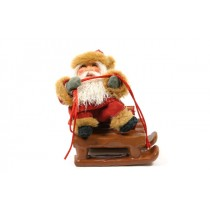 Santa Red on Brown Sleigh 7""