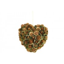 Wreath Heart Brn Cone/Lichen w/Gold Trim 5""