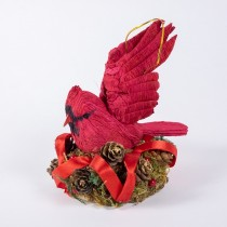 Cardinal Red Paper Mache in Nest 5""