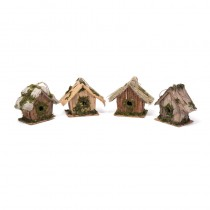 Birdhouse A-Shape Natural Asst*4 3.5""