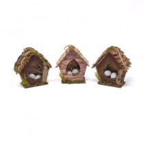 "Birdhouse A-Shape Cone/Woodchip w/Egg Asst*3 5"""