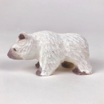 Bear White Wood Carved 3""