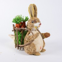 Rabbit Brn Jute w/Basket/Carrot 6.5""