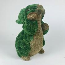 "Rabbit Brn/Grn Jute Pom Pom Standing 12"""