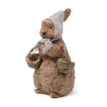 "Rabbit Brown Jute w/Basket Standing 13.5""H"