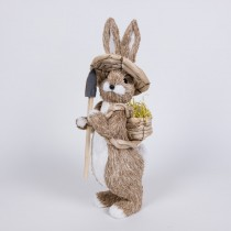 Rabbit Nat Jute w/Hat/Shovel/Back Basket 14""