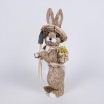 "Rabbit Nat Jute w/Hat/Shovel/Back Basket 14"""