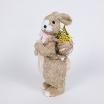 "Rabbit Nat Jute w/Pink Bow Carrying Back Basket 8"""