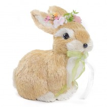 Rabbit Beige/Wht Sidal w/Flowers Sitting 8""