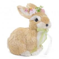 "Rabbit Beige/Wht Sidal w/Flowers Sitting 8"""