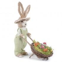 "Rabbit Beige Sisal w/Grn Clothes/Cart 14""Lx18.5""H"