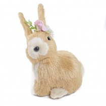 "Rabbit Beige/Wht Sisal w/Flower 6.5"""