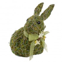 Rabbit Green Moss w/Wire Wrap/Ribbon 7""