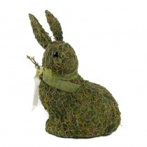 Rabbit Green Moss w/Wire Wrap/Ribbon 10.5""