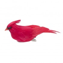 Cardinal Red Feather w/Clip 4""