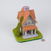 "House Grey w/Red Roof 8.5""x 7"""