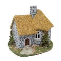 House Yel Straw Roof/Stone Wall 7.5x5x6""