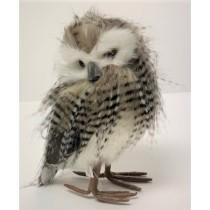 "Owl Gray/Wht/Brn Fur Standing 8"""