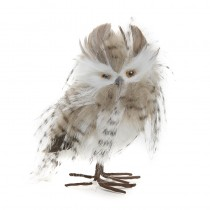 "NC356077 Owl Gray/Wht/Brn Fur Standing 6"" Available - Now   Birds & Birdhouses  Owls Fall & Thanksgiving Christmas Decorations"