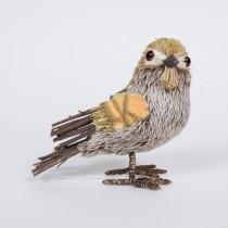 "Bird Lte Brn/Grn Fur/Twig Standing 5.5"""