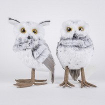 Owl Gray Fur Asst*2 7""
