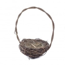 Nest Basket Dk Brown Twig w/Handle 5""