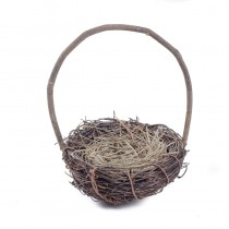 Nest Basket Dk Brown Twig w/Handle 4.5""