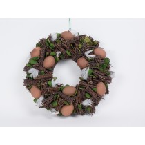 Wreath Egg Brown w/Twig 13""