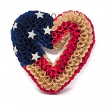 Wreath Heart Patriotic America 13.5""