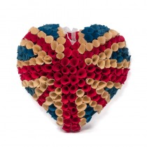 Wreath Patriotic Heart Woodchip UK 13""