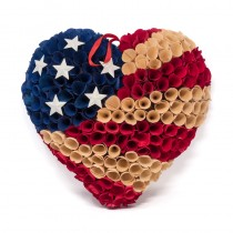 Wreath Patriotic Heart Woodchip USA 13""