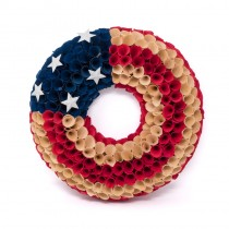 Wreath Patriotic Woodchip USA 14""