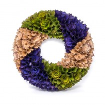 Wreath Olive Grn/Blu/Crm Woodchip 18""