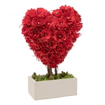 Heart Red Topiary In Woodbox 12.5""