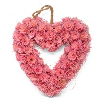 Wreath Heart Pink Woodchip 13.5""