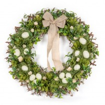 Wreath Egg Green w/Bow 25.5""