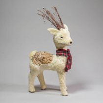 Deer White Jute w/Plaid Scarf 21""