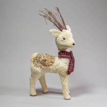 "Deer White Jute w/Plaid Scarf 21"""